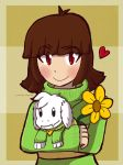 [Undertale] Chara with a Asriel plushie by FerniAngel