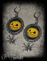Ghoulish Pumpkin Spider Earrings by FrillsandMorbidity
