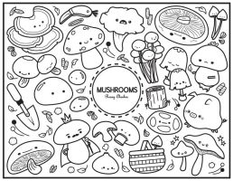 Mushroom Colouring Sheet by orangecircle