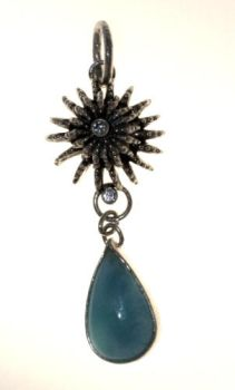 Silver anemone pendant with a larimar by nataliakhon