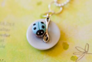 Lady Bug Tiny Mini Cupcake Necklace by MiniSinLove