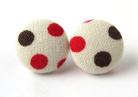 White button earrings studs beige red brown polka by KooKooCraft