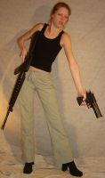 Danielle Rifle Handgun Stance by FantasyStock