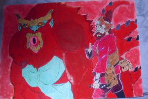 naruto roshi and four tailed monkey son goku by demonjester55