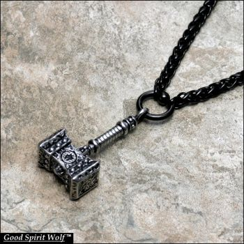 War Hammer Pendant on Black Viking Weave Chain by GoodSpiritWolf