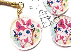 Sylveon Pokemon Crystal Clear Acrylic Charm by Polarstar-Chaser