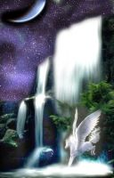 Night Waterfall Pegasus by LunaBloodthorne