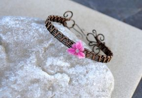 Rose flower wire wrapped bracelet cuff by IanirasArtifacts