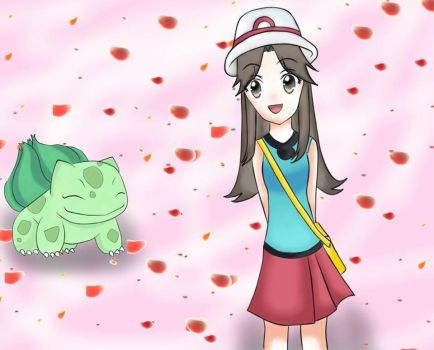 Leaf and Bulbasaur by kage-no-ucachan