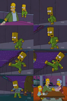 Bart Simpson barefoot outside at night by 93connector