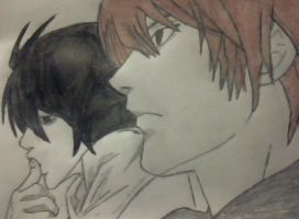 L and Light Yagami - Death Note by EvaBirthday
