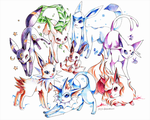 Pen Commission: Eeveelutions by Jiayi