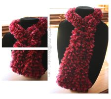rosebud ~ red heart ribbon scarf by theyarnbunny