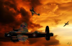 Dawn Bombing Raid by Lashington