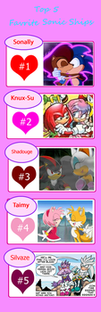 My Top 5 Favorite Sonic Ships *Please read note* by Skooterwolf