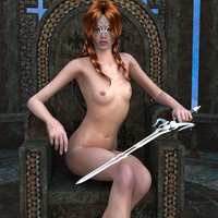 Naked Vicky in a Temple... by andromedakun