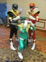 A-kon '12 - Green, Black and Red Rangers by TexConChaser