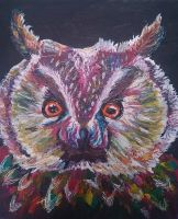 Colourful owl painting by strawberriart