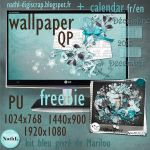 wallpaper frosted blue and calendar december 2013 by NathL-fr