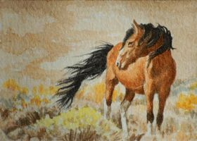 Mustang on the Prarie by waughtercolors