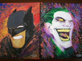 Batman and Joker paintings by KidNotorious