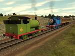 Percy Rescues Thomas by SkarloeyRailway