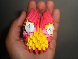 3d origami mini red owl by xneeneex
