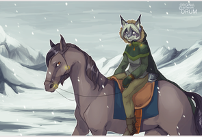 Through the falling snow by orum-the-cat