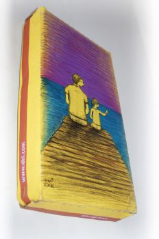 illustration over YELLOW corrugated cardboard by luiexs