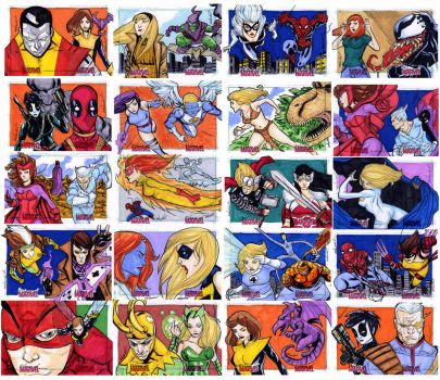 Women Of Marvel puzzle sketch cards 21-40 by mdavidct