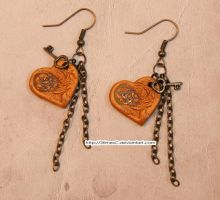 Steampunk Heart Earrings 2 by 3timesC