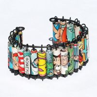 Paper Bead Jewelry Comic Book Cuff by Tanith-Rohe