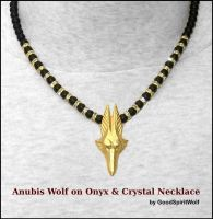 WOLF HEAD ANUBIS ON ONYX AND CRYSTAL NECKLACE by GoodSpiritWolf