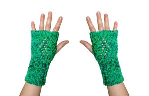 Sea Breeze Fingerless Mittens by TheSleepyRabbit