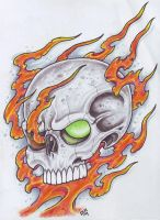 Skull In Flames 4 by vikingtattoo