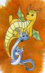 PC: Dratini + Dragonair + Dragonite by Shikall