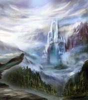 castle in mountains by Nneila