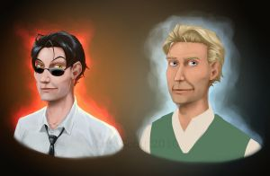 Crowley and Aziraphale by KanaScott