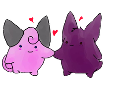 Clefairy and Gengar by TwitchyTail