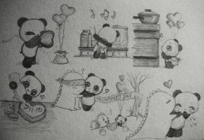 Dino and Panda Valentine 2012 by MelodicInterval