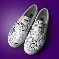 Custom White Vans by thehermitdesign