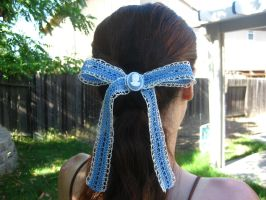 Blue crochet lace bow with cameo by crazynina