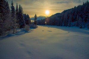 Sunrise over the Bow River by CapturedMoments