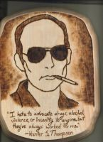 Hunter S. Thompson woodburning by StonerKitty
