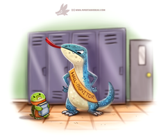 Daily Paint #1229. Hall Monitor Lizard by Cryptid-Creations