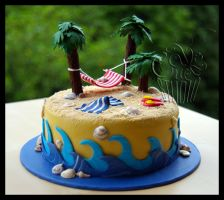 Tropical Island Cake by CakeUpStudio