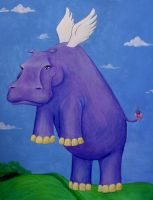 Flying Purple Hippo by beingenough