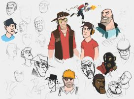 Team Fortress 2 sketches 2 by JakeHarold