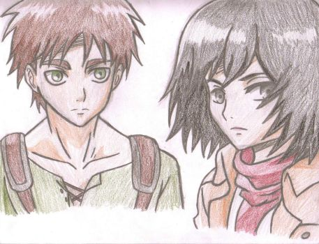 Eren and Mikasa by AnimePortraits