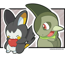 Axew and Emolga by SeviYummy